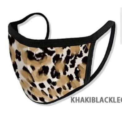 Khaki/Black Leopard Cloth Face Mask - Rhinestone Leopard