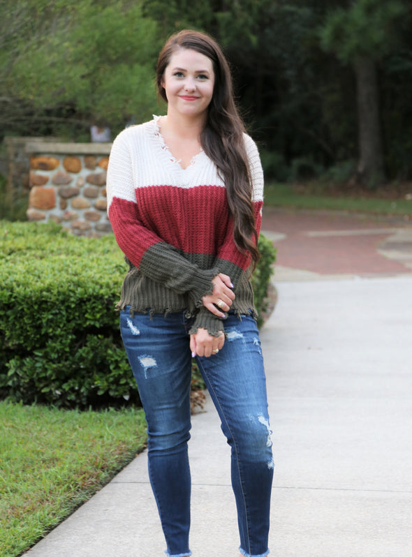 Magnolia Distressed Wine Red Sweater