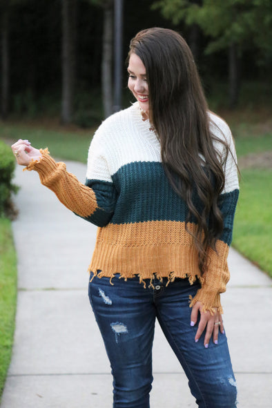 Magnolia Distressed Mustard Sweater