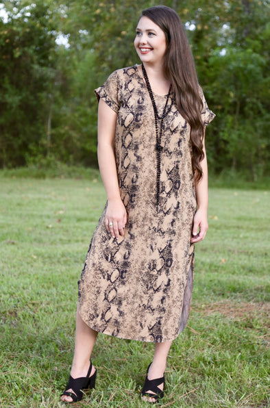 Stephanie Mocha Cuffed Snakeskin Dress
