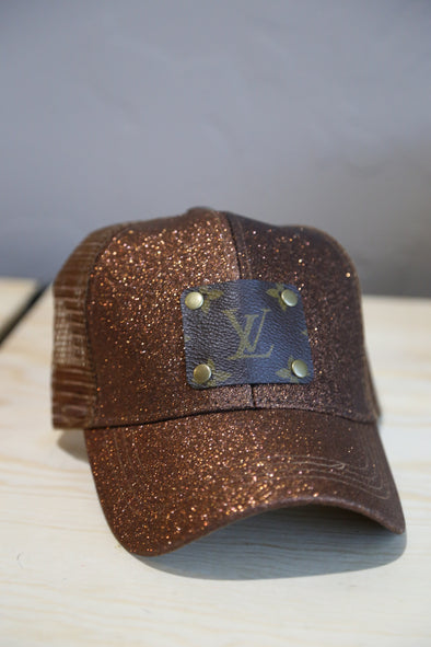 Brown Glitter High Pony LV upcycled Patch Hat - Rhinestone Leopard