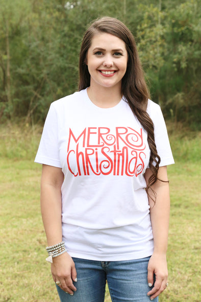 Merry Christmas Graphic Tee - Rhinestone Leopard