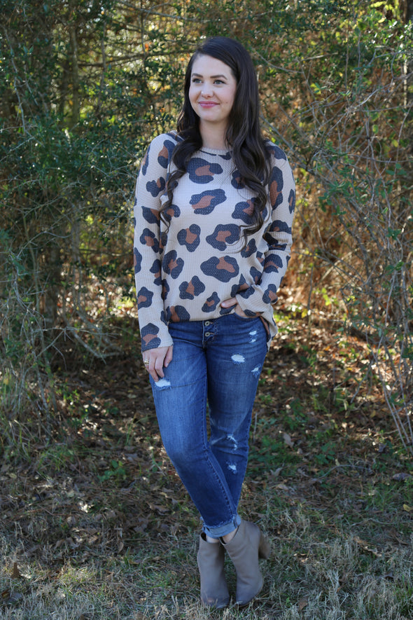 Angelica Long Leopard Print Top - Taupe