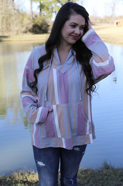 Catalina Multi-Color Striped Hoodie