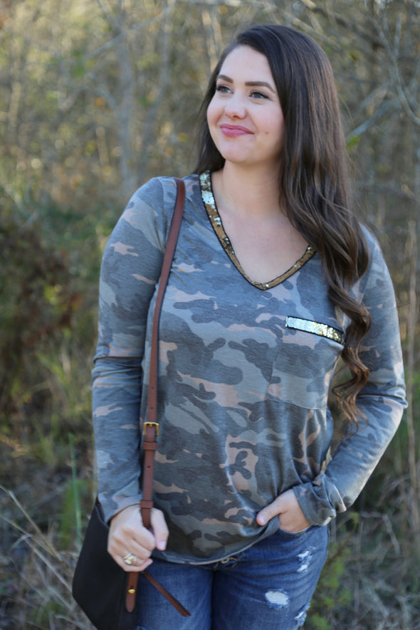 Mariah Camo Top with Gold Glitter Trim - Olive