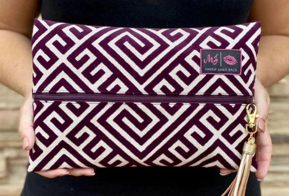 Geo Makeup Junkie Bag - Maroon