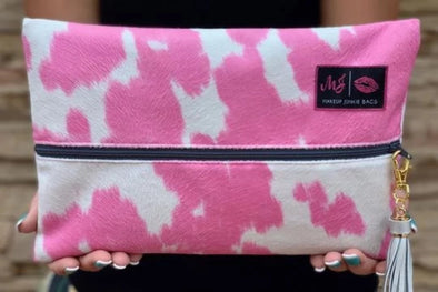 The Shelby Makeup Junkie Bag - Pink/White - Rhinestone Leopard