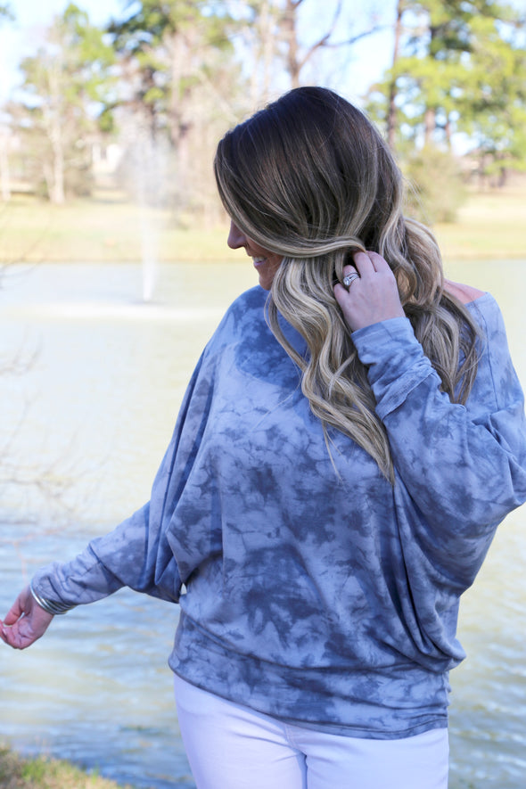 Splash of Spring Dolman Style Tie-Dye Top - Grey