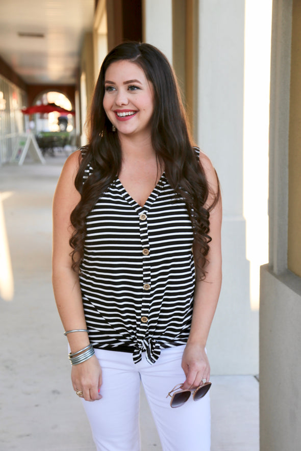 Live Like It's Spring Striped Tie Top - Black