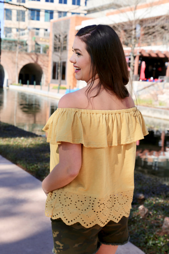 Into You Off the Shoulder Ruffle Top - Mustard