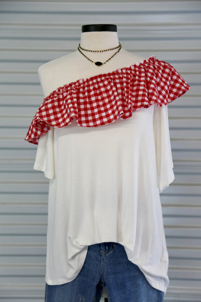Red & White Plaid Ruffled Top - Rhinestone Leopard