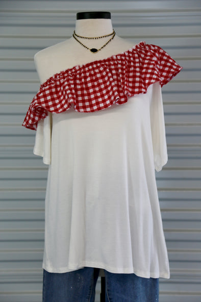 Red & White Plaid Ruffled Top