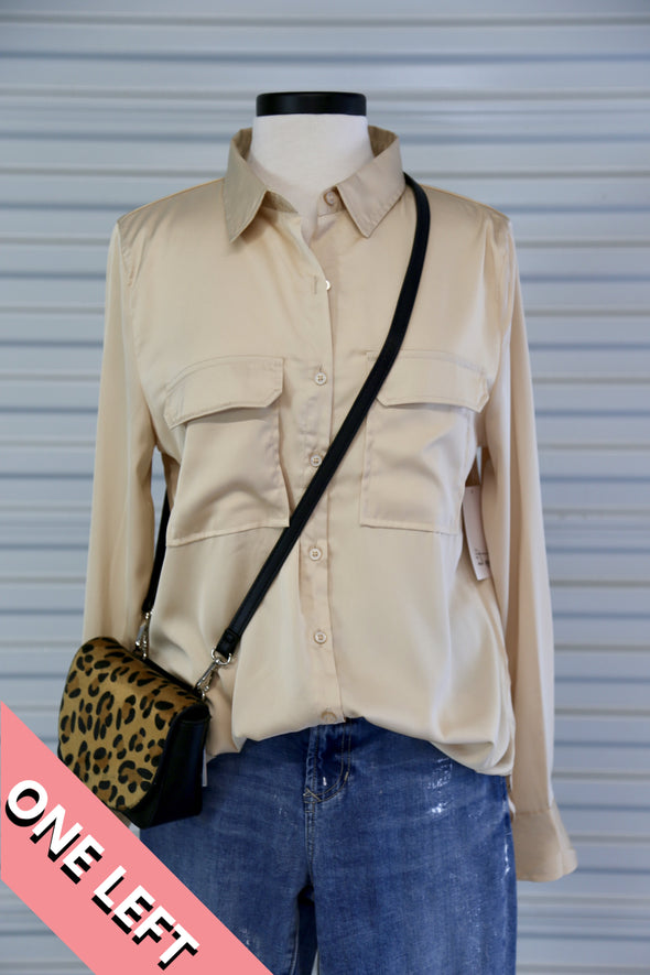 Long Sleeve Double Pocket Top - Rhinestone Leopard