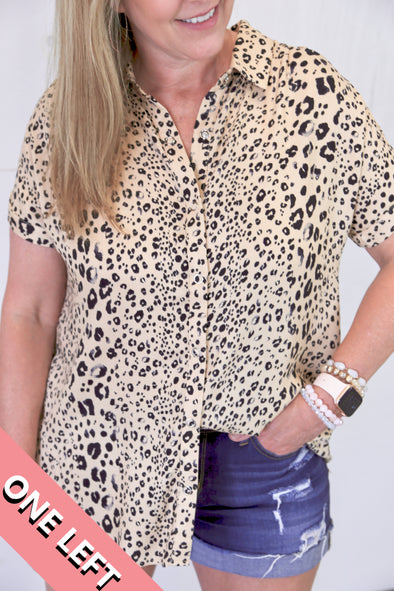 Hannah Leopard Collared Button Up Top - Taupe - Rhinestone Leopard
