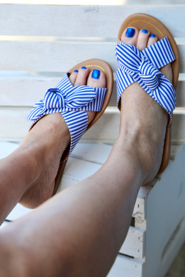 Charlotte Bow X Band Sandals - Blue - Rhinestone Leopard