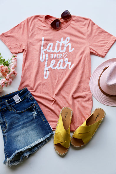 Faith over Fear Graphic Tee - Peach - Rhinestone Leopard