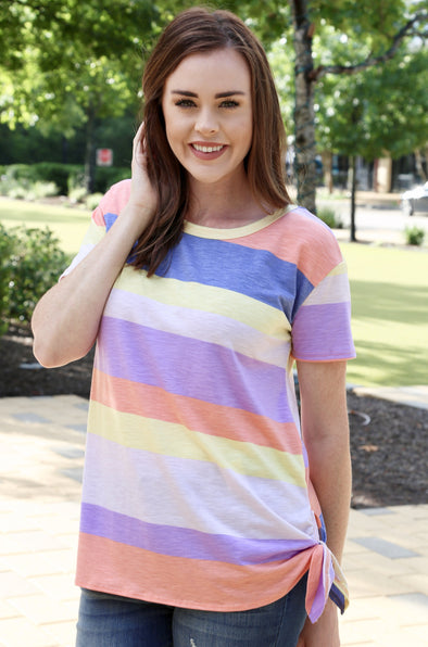 Alice Striped Top with Side Tie - Multi-color - Rhinestone Leopard
