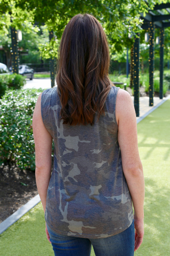 Sloane Camo Print Scoop Top with Criss Cross Detail - Olive - Rhinestone Leopard