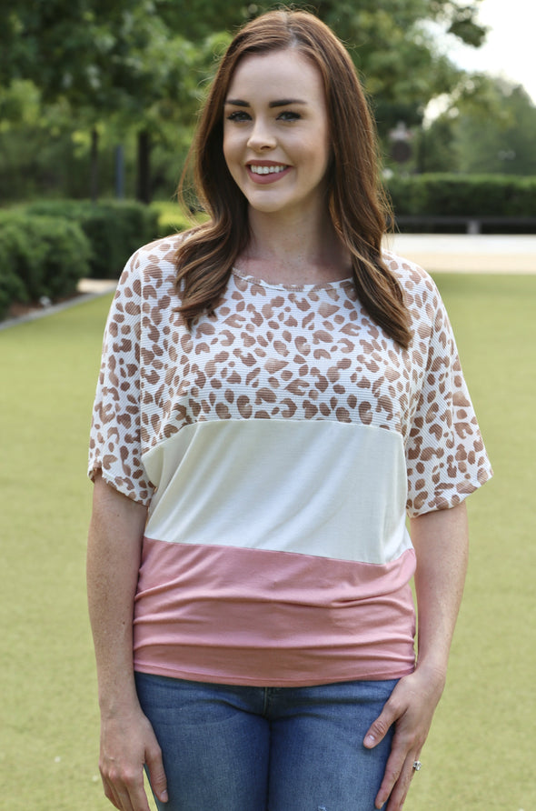 Shelby Leopard Color Block Top - Ivory/Coral - Rhinestone Leopard