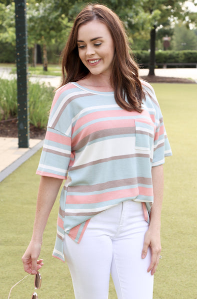 Palmer Short Dolman Sleeve Striped Top with Pocket - Sage/Coral