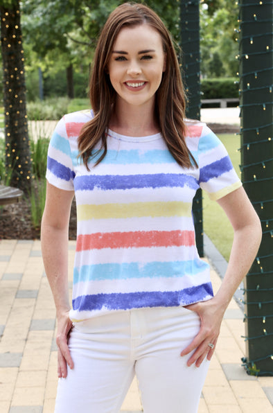 Maya Striped Top - Multi-color - Rhinestone Leopard