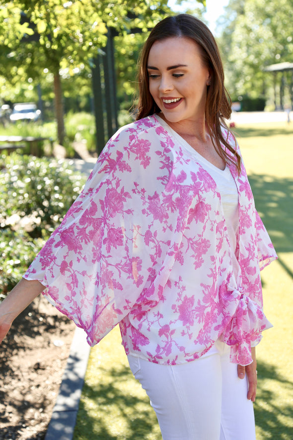 April Floral Sheer Chiffon Cardigan with Knot - Pink - Rhinestone Leopard