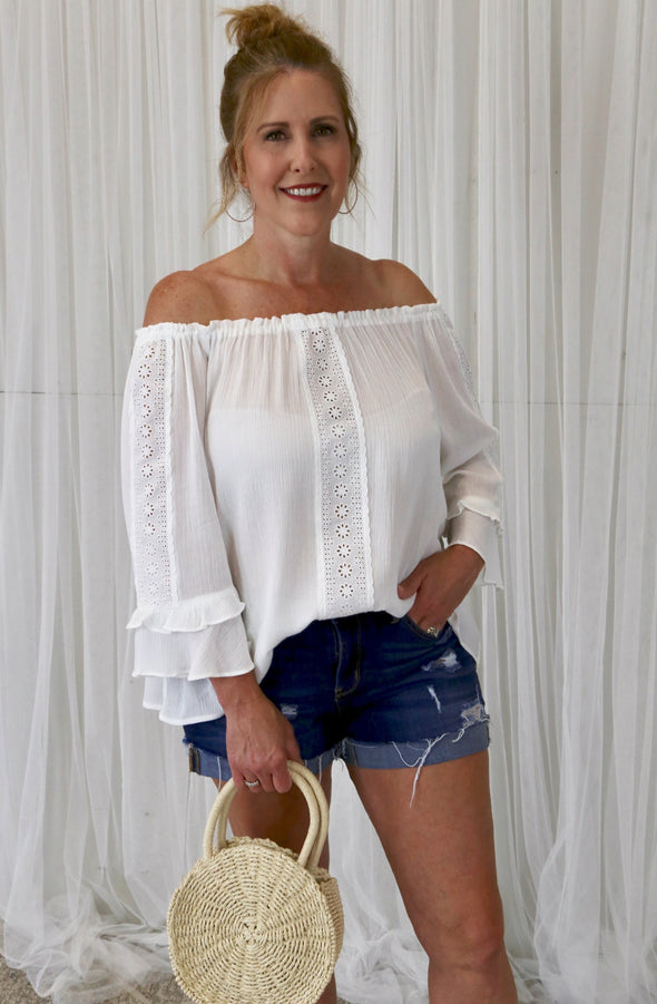 Harmony Flowy Off the Shoulder Blouse with Eyelet Detail - White - Rhinestone Leopard