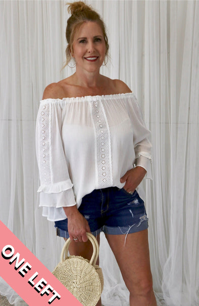 Harmony Flowy Off the Shoulder Blouse with Eyelet Detail - White