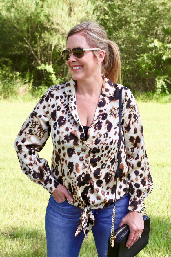 Georgia Animal Print Top with Front Tie - Rhinestone Leopard