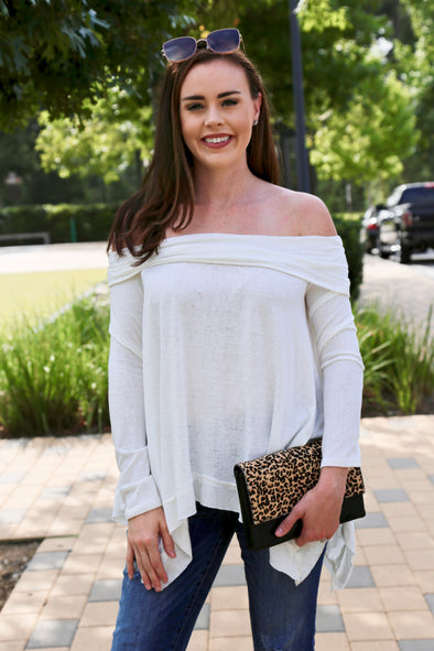 Isabella Cold Shoulder Top - White - Rhinestone Leopard