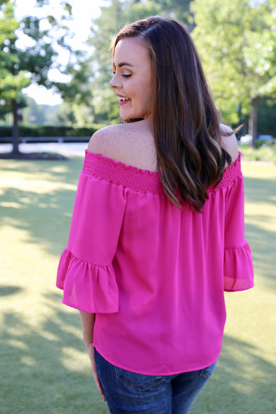 Kinsley Off the Shoulder Ruffle Sleeve Top - Hot Pink - Rhinestone Leopard
