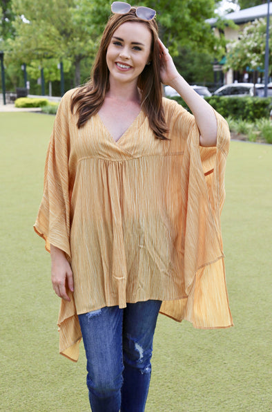 Lily Lightweight Washed V Neck Poncho - Mustard - Rhinestone Leopard