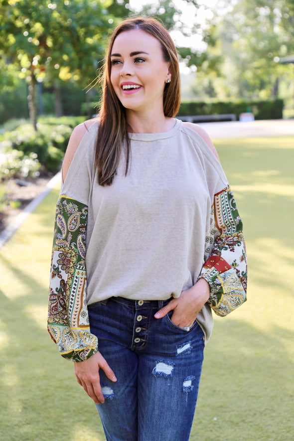Zoe Boho Cold Shoulder Bubble Sleeve Top - Grey - Rhinestone Leopard