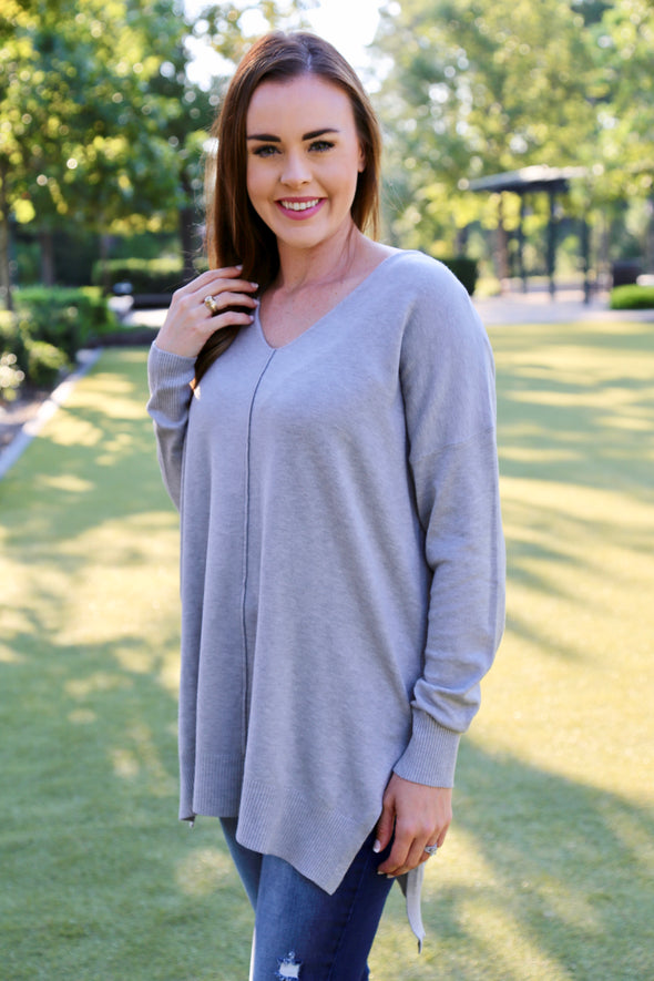 Jessica Relaxed Fit Sweater - Grey - Rhinestone Leopard