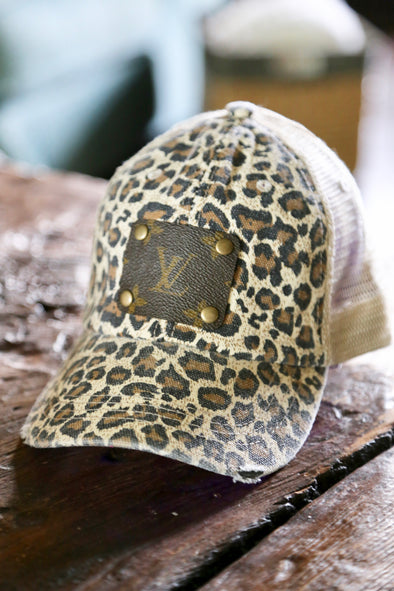 Authentic LV Patch Upcycled Textured Leopard Cap - Tan/Brown - Rhinestone Leopard