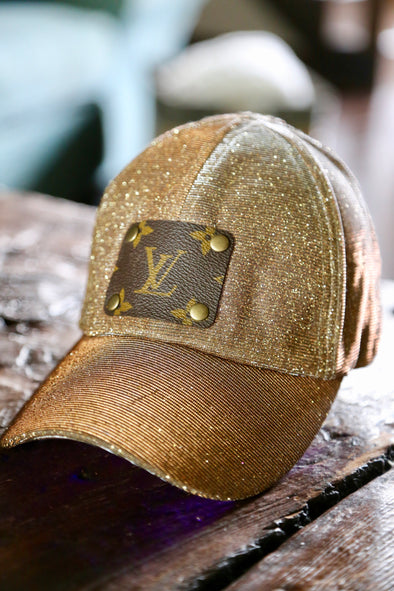 Authentic LV Patch Upcycled High Pony Glitter Cap - Bronze/Gold - Rhinestone Leopard