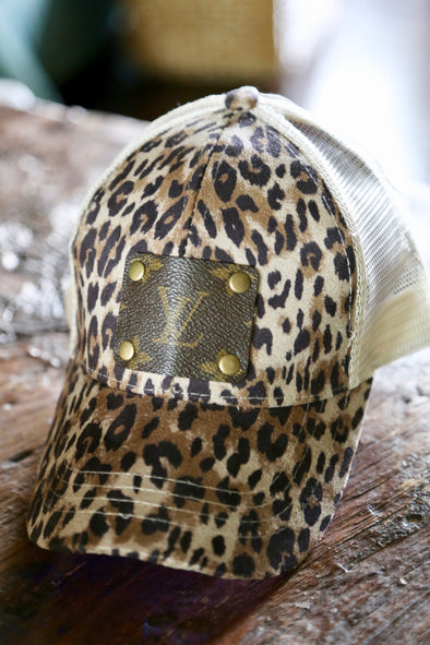 Authentic LV Patch Upcycled High Pony Leopard Cap - Tan - Rhinestone Leopard