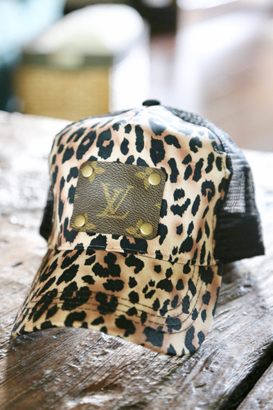 Authentic LV Patch Upcycled Leopard Cap - Black - Rhinestone Leopard