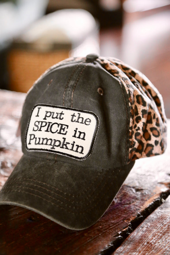 I Put the Spice in Pumpkin Leopard Cap - Charcoal/Brown - Rhinestone Leopard