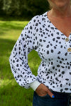 Taylor Dalmation Print Terry Top with Puff Sleeves - White - Rhinestone Leopard