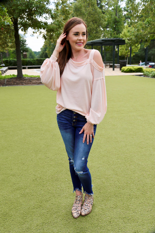 Liliana Cold Shoulder Light Weight Top - Blush - Rhinestone Leopard