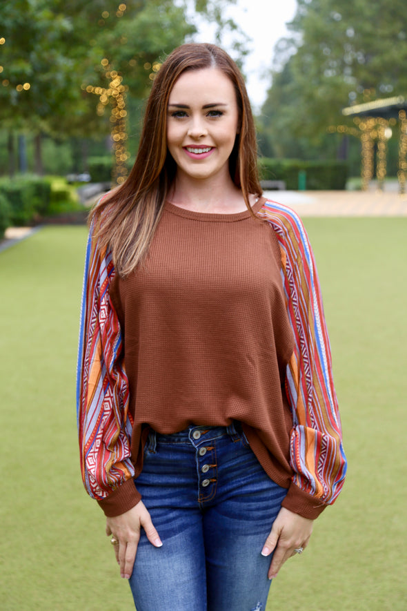 River Patterned Sleeve Knit Top - Brown - Rhinestone Leopard