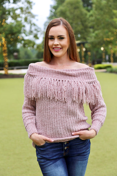 Camila Knit Off the Shoulder Sweater - Mauve - Rhinestone Leopard