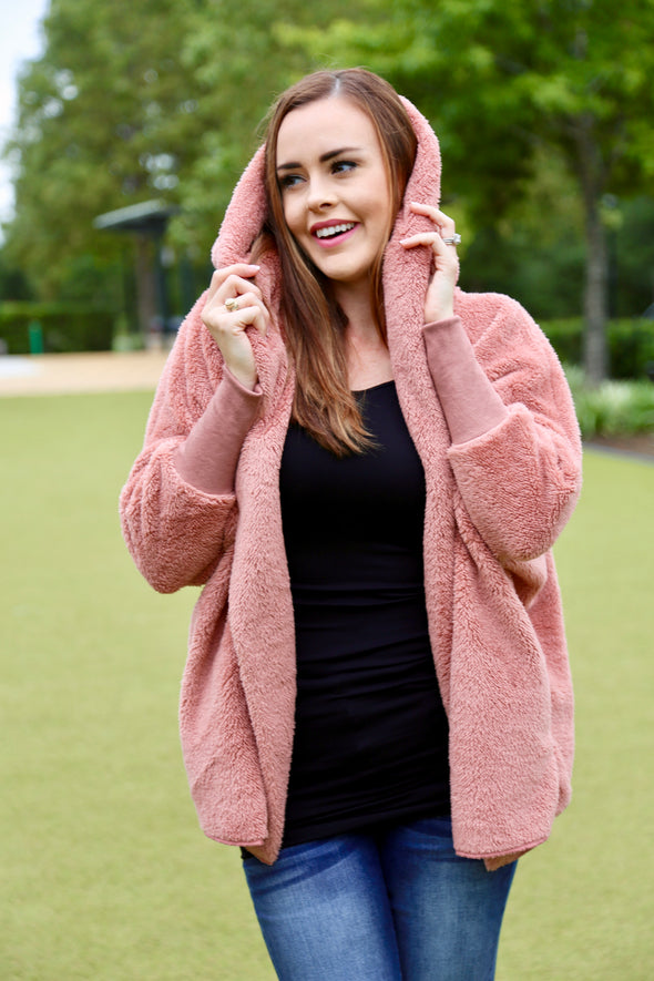 Madelyn Hooded Open Coat - Mauve - Rhinestone Leopard