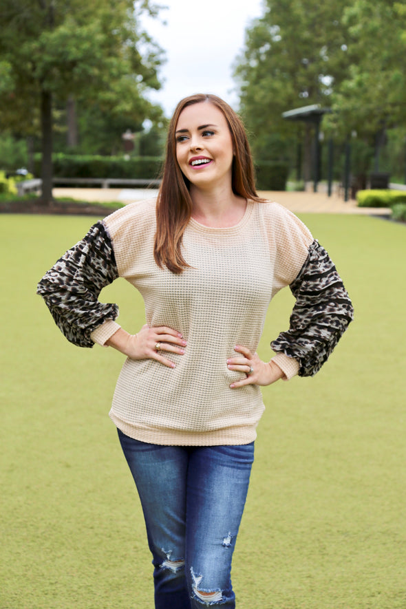 Julia Waffle Knit Top With Animal Print Detail - Peach - Rhinestone Leopard