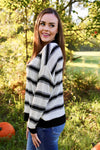 Vanessa Geo Stripe Knit Top - White/Black - Rhinestone Leopard