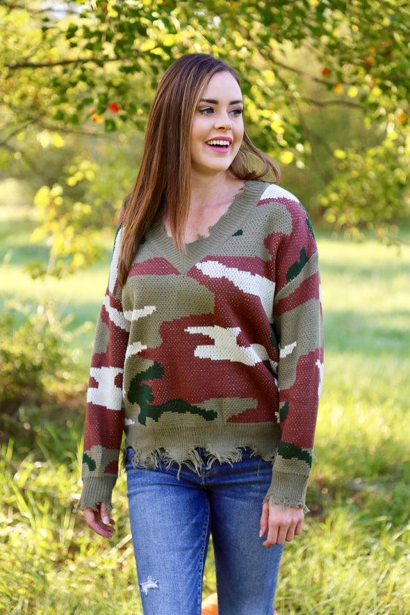 London Distressed Camo Sweater - Multi - Rhinestone Leopard