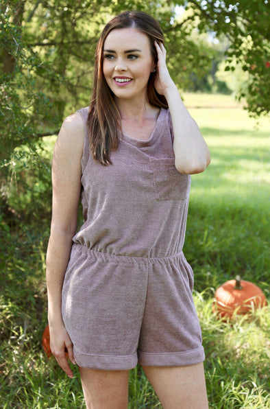Maggie Solid Knit Romper with Pockets - Mauve - Rhinestone Leopard