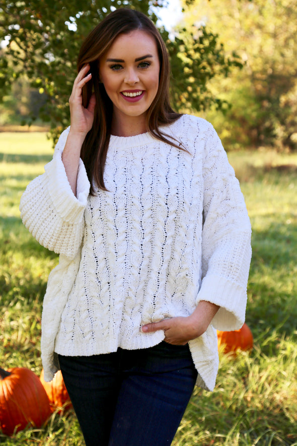Hope Cable-Knit Sweater - White - Rhinestone Leopard