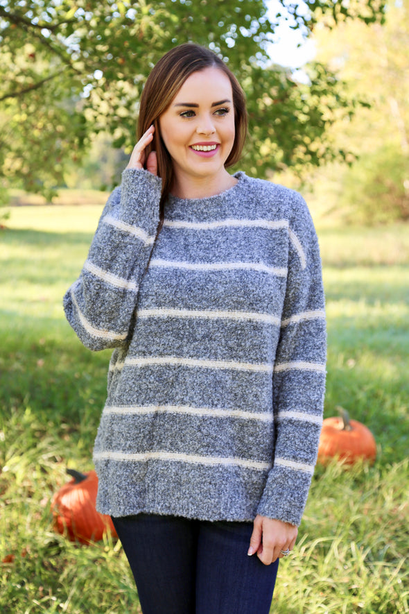 Nina Striped Fuzzy Sweater - Grey - Rhinestone Leopard
